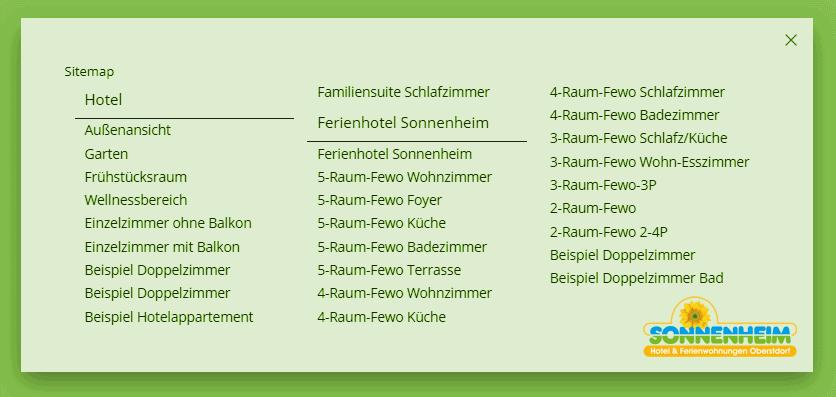 Sitemap 360° Panoramen Touren Sonnenheim Oberstdorf