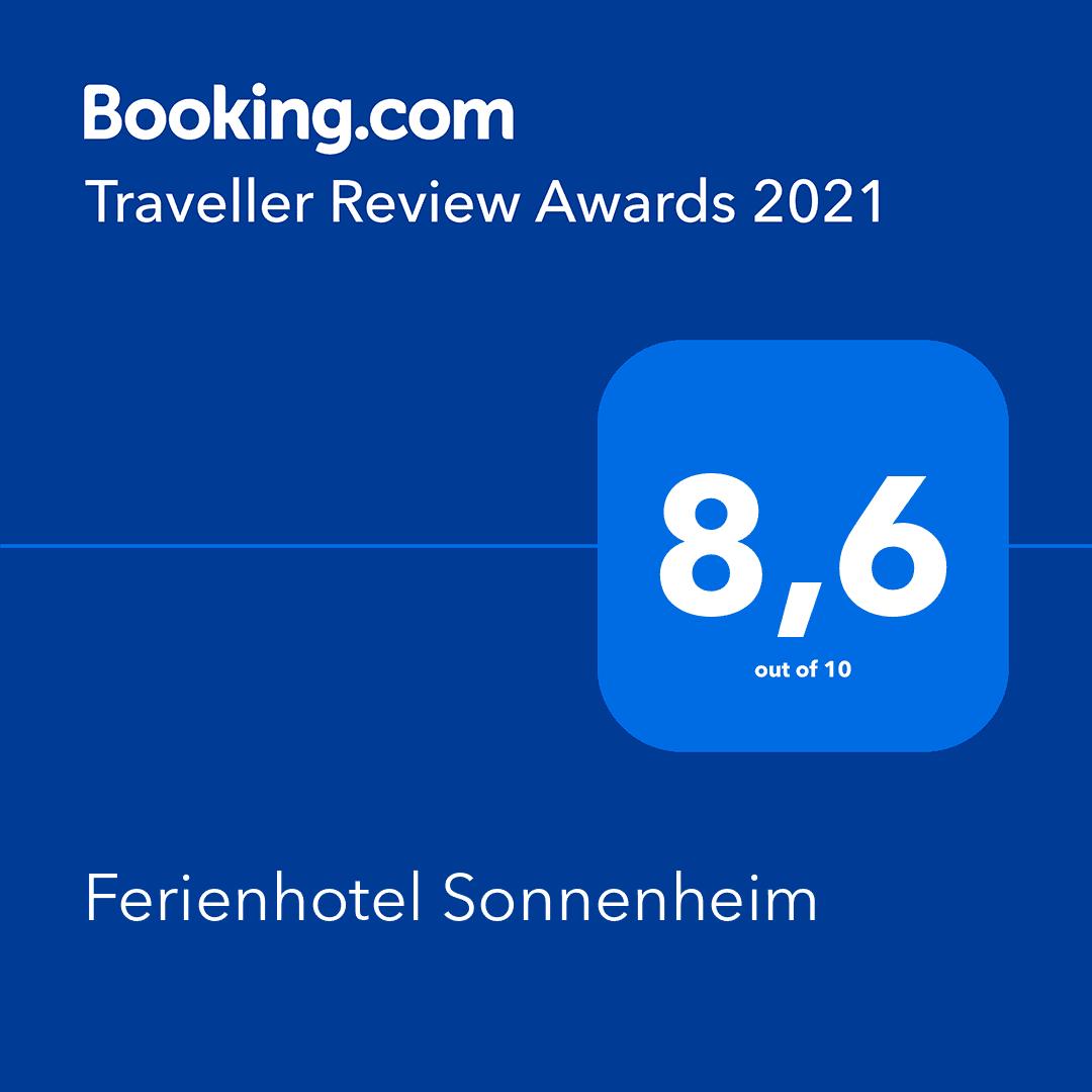 Booking.com Award 2021 Ferienhotel Sonnenheim Oberstdorf