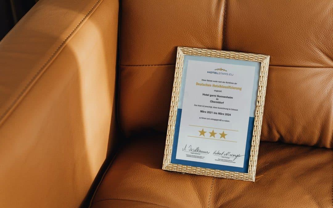 3 Sterne für Hotel garni Sonnenheim