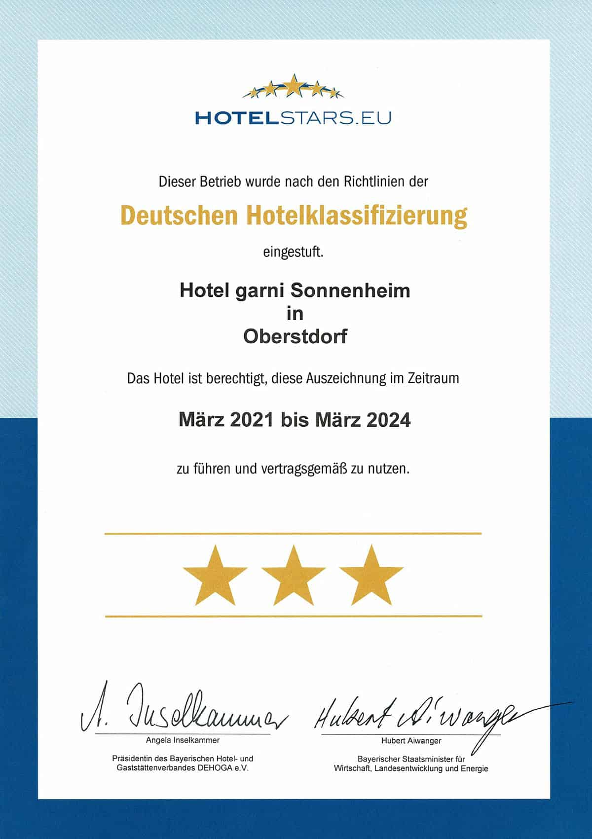 3 Sterne Hotelklassifizierung Hotel garni Sonnenheim